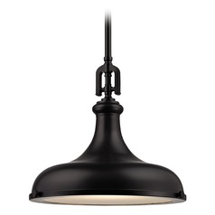 Elk Lighting Rutherford Oil Rubbed Bronze Pendant Light with Bowl / Dome Shade
