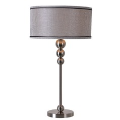 Kenroy Home Margot Brushed Steel Table Lamp with Drum Shade