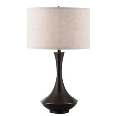 Lite Source Elisio Dark Bronze Table Lamp with Drum Shade