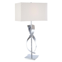 Modern Table Lamp with White Shade in Chrome Finish