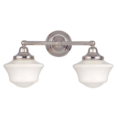 Schoolhouse Bathroom Light with Two Lights in Polished Nickel