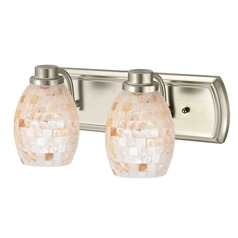 2-Light Bath Light with Mosaic Glass in Satin Nickel