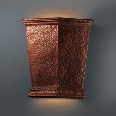 Sconce Wall Light in Hammered Copper Finish