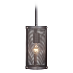 Jeremiah Lighting Blacksmith Matte Black Gilded Mini-Pendant Light with Cylindrical Shade