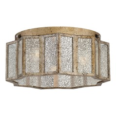 Old World Mercury Glass Flushmount Light Gold Shrine by Quoizel Lighting