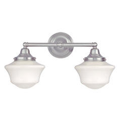 Schoolhouse Bathroom Light with Two Lights in Satin Nickel