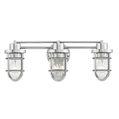 Seeded Glass Bathroom Light Chrome Cage 3 Lt