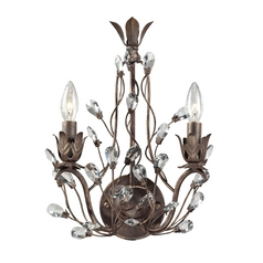 Crystal Sconce Wall Light in Bronze Rust Finish