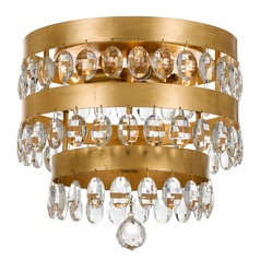 Crystorama Lighting Perla Antique Gold Flushmount Light