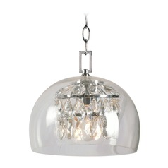 Kenroy Home Roxy Chrome Mini-Pendant Light with Bowl / Dome Shade