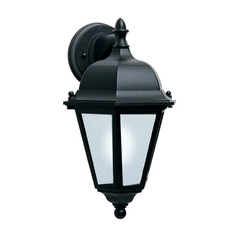 Outdoor Wall Light with White in Black Finish
