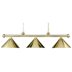 Modern Billiard Light in Polished Brass Finish