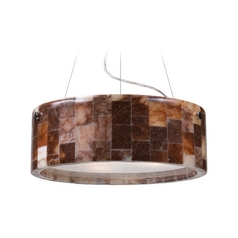 Modern Drum Pendant Light with Brown Tones Glass in Polished Chrome Finish