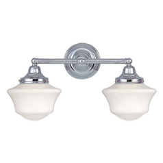 Design Classics Lighting Schoolhouse Bathroom Light with Two Lights in Chrome Finish WC2-26 / GC6