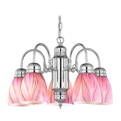 Mini-Chandelier with Pink Art Glass in Chrome Finish