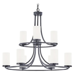 White Glass Chandelier Matte Black 9-Lt
