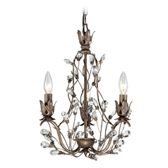 Crystal Mini-Chandelier in Bronze Rust Finish