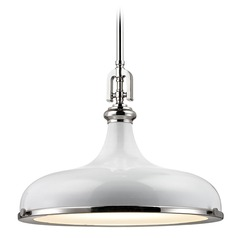 Elk Lighting Rutherford Polished Nickel/gloss White Pendant Light with Bowl / Dome Shade