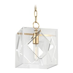 Hudson Valley Lighting Travis Aged Brass Mini-Pendant Light with Square Shade