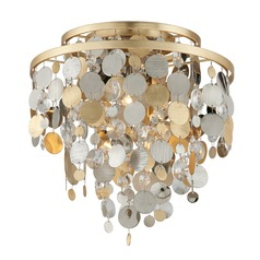 Corbett Lighting Ambrosia Gold and Silver Leaf Flushmount Light
