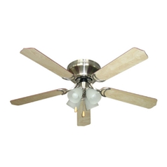 Ceiling Fan with Light with Alabaster Glass in Brushed Nickel Finish