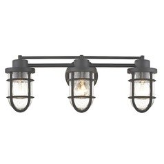 Seeded Glass Bathroom Light Bronze Cage 3 Lt