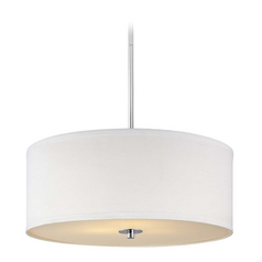 Contemporary Pendant Light with White Drum Shade in Chrome Finish