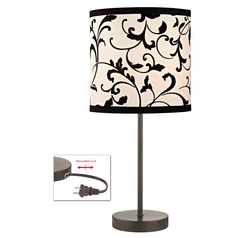 Bronze Table Lamp with Black & White Filigree Drum Shade