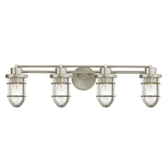 Seeded Glass Bathroom Light Satin Nickel Cage 4 Lt