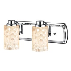 2-Light Mosaic Glass Vanity Light in Chrome