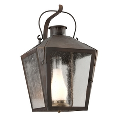 Outdoor Wall Light with Clear Glass in Natural Rust Finish