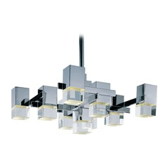 Nova LED Polished Chrome LED Pendant Light with Square Shade