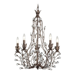 Crystal Chandelier in Bronze Rust Finish
