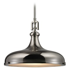 Elk Lighting Rutherford Brushed Nickel Pendant Light with Bowl / Dome Shade