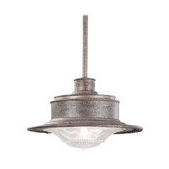 Outdoor Hanging Light with Clear Glass in Old Galvanize Finish