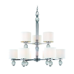 Modern Chandelier with White Shades in Polish Chrome Finish