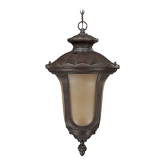 Outdoor Hanging Light with Amber Glass in Fruitwood Finish