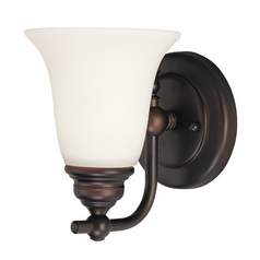 Bronze Sconce Wall Light with White Bell Glass