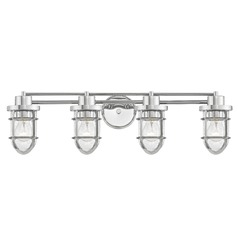 Seeded Glass Bathroom Light Chrome Cage 4 Lt