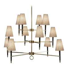 Robert Abbey Jonathan Adler Ventana 3-Tier 12-Light Chandelier in Natural Brass / Ebony Wood
