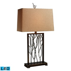 Dimond Lighting Aria Bronze, Iron LED Table Lamp with Rectangle Shade