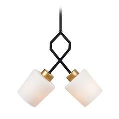 Mid-Century Modern Pendant Light Gold and Black Draper by Kenroy Home