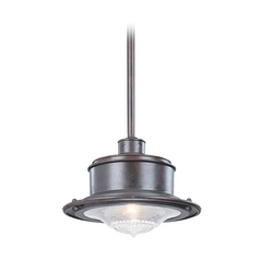 Troy Lighting Outdoor Hanging Light with Clear Glass in Old Rust Finish F9395OR