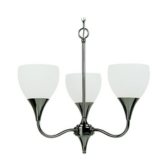 Sea Gull Lighting Modern Mini-Chandelier with White Glass in Polished Nickel Finish 31951-841
