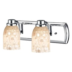 2-Light Mosaic Glass Bath Bar in Chrome