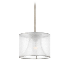 Frederick Ramond Mime Brushed Nickel Mini-Pendant Light with Drum Shade