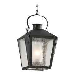Outdoor Hanging Light with Clear Glass in Natural Rust Finish