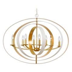 Crystorama Lighting Luna Matte White, Antique Gold Pendant Light