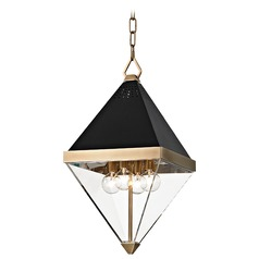 Hudson Valley Lighting Coltrane Aged Brass Mini-Pendant Light with Triangle Shade