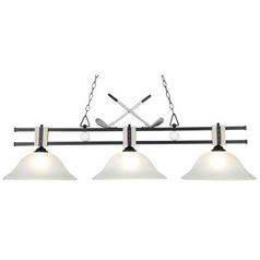 Modern Billiard Light with White Glass in Matte Black Finish